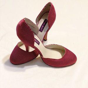 Mojo moxy red polkadot heels